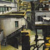 Property From The Collection Of Herb And Helen Gordon Bikash Bhattacharjee  Untitled (Rooftops) Oil on canvas Signed and dated 'Bikash' 64-72' lower right 32½ by 68⅝ in., 82.8 by 174.3 cm. Painted between 1964-72 Estimate $120/180,000