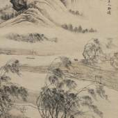 Zhang Ling Scholar Gazing at Farmlands from a Pavilion Ink and color on paper, hanging scroll 145.7 by 770.4 cm., 57 3/8 by 27 3⁄4 in. Estimate $160/220,000 Sold for $615,000