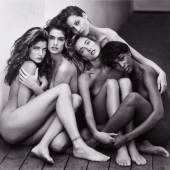 Herb Ritts 'Stephanie, Cindy, Christy, Tatjana, Naomi, Hollywood' mounted, signed, titled, dated, and editioned '11/25' in pencil and stamped on the reverse, overmatted, framed, 1989 18 1/2  by 20 in. (47 by 50.8 cm.) Estimate $50/70,000
