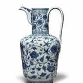 Property from the Detring/Von Hanneken Collection An Exceptionally Rare and Important Blue and White Ewer Xuande Mark and Period Height 13 in., 33 cm Estimate $600/800,000 Sold for $3,135,000