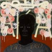 Lot 401 Three Important Works By Kerry James Marshall From A Private West Coast Collection Kerry James Marshall Lost Boys: Aka Black AL titled incorrectly on the reverse acrylic on canvas and canvas collage mounted to board 29 by 29 in. 73.7 by 73.7 cm. Executed in 1993.  Estimate $500/700,000 Sold for $2,655,000