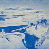 Lot 433 Mark Tansey Study For Push/Pull signed and dated 03; signed, titled and dated 2003 on the reverse oil on canvas 48 by 56 in. 121.9 by 142.2 cm. Estimate $1.5/2 million Sold for $3,135,000