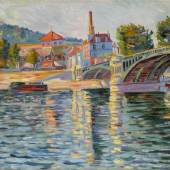 Lot 113 Property from an Important Pennsylvania Collection Paul Signac Le Pont de Suresnes Signed P. Signac and dated 83 (lower left) Oil on canvas 18 1/8 by 24 in. 46 by 61 cm Painted in 1884. Estimate $700,000/$1 million
