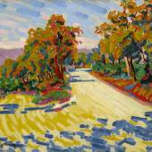 Lot 114 Property from an Important Pennsylvania Collection Auguste Herbin Route de Montagne en Corse Signed Herbin (lower left) Oil on canvas 23 1/2 by 28 3/4 in. 59.6 by 73 cm Painted in 1907. Estimate $500/700,000 Sold for $855,000 RECORD FOR ARTIST AT AUCTION