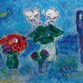 Lot 227 Marc Chagall Les Amoureux aux trois bouquets Signed Marc Chagall (lower right); signed Marc Chagall and dated 1980 (on the reverse) Oil on canvas 21 1/4 by 28 3/4 in. 54 by 73 cm Painted in 1980. Estimate $1/1.5 million