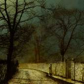 Lot 10 Property From A New York Collection John Atkinson Grimshaw A November Night signed Atkinson Grimshaw and dated 1874 (lower left); inscribed A November Night, signed Atkinson Grimshaw, and dated 1874 (on the stretcher) oil on canvas 30 1/8 by 25 in. 76.5 by 63.5 cm Estimate $250/350,000