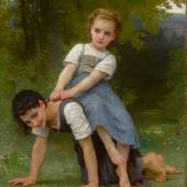 Lot 24 Works Of Art Sold To Benefit The Berkshire Museum William Bouguereau La bourrique (The Pony-Back Ride) signed W-BOUGUEREAU- and dated 1884 (lower right)  oil on canvas 53 3/4 by 39 7/8 in. 136.5 by 101.3 cm Estimate $2/3 million