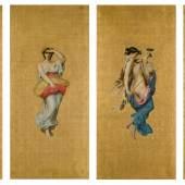 Lot 6 Property From A Private Collection, France William Bouguereau Les Quatre Saisons: Le Printemps, L'été, L'automne, L'hiver oil on canvas each, 72 7/8 by 35 3/8 in. 185 by 90 cm Estimate $600/800,000