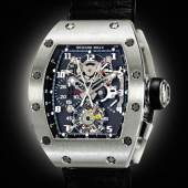 Lot 240 A Collection of Modern Complicated Wristwatches from an American Collector  Richard Mille An Impressive Platinum Tonneau Form Tourbillon Split Seconds Chronograph Wristwatch With Power Reserve And Torque Indication Mvt 13 Rm008 Ag Pt No 24 Circa 2006 Estimate $250/500,000 Sold for $423,000