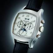 Lot 280 Patek Philippe A Fine And Very Rare White Gold Cushion-Form Perpetual Calendar Chronograph Wristwatch With Moon-Phases, Registers And Breguet Numerals Ref 5020g-013 Mvt 3046211 Case 2994144 Circa 2001 Estimate $200/300,000 Sold for $250,000