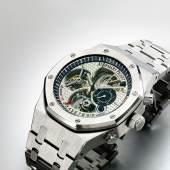 Lot 29 Audemars Piguet A Massive Limited Edition Platinum Tourbillon Chronograph Wristwatch With Double Power Reserve Indication And Bracelet Mvt 571231 Case E88363 Tradition D'excellence No 4 Royal Oak Offshore Circa 2004 Estimate $100/150,000 Sold for $423,000