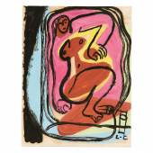 2036 Le Corbusier, d.i. Charles-Édouard Jeanneret-Gris  1887 La Chaux-de-Fonds - 1965 Roquebrune-Cap-Martin. «Femme nue allongée». 1951/52. Öl mit Grattage und Gouache auf (Vergé) Papier, auf Unterlagekarton montiert. U.r. monogr. Limit: 18000,- EUR