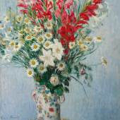 Claude Monet Bouquet De Glaïeuls, Lis Et Marguerites Signed Claude Monet and dated 1878 (lower left) Oil on canvas 32 1/2 by 24 1/2 in. 83 by 62.3 cm Painted in 1878. Estimate $7/10 million