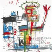 Jean-Michel Basquiat Untitled 1982 Oil stick on paper 51.1 by 41 cm | 20⅛   by 16⅛ in Estimate $1.5/2 Million