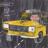 Jean-Michel Basquiat and Andy Warhol Taxi, 45th/Broadway Circa 1984-85 Acrylic, oil stick, synthetic polymer and silkscreen ink on canvas 196.2 by 272.4 cm | 77¼  by 107¼ in Estimate $6/8 Million
