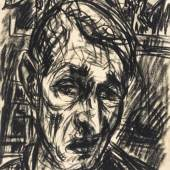Rudolf Wacker. 1893 - Bregenz - 1939. Monogr. und XI (19)32 dat. Selbstportrait mit Gemäldefragment im Hintergrund, darauf sitzende Puppe (?) und Holzvogel. Kohle auf Transparentpapier. Ca. 41 x 29 cm. Gl.u.R.