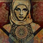 Lot 20 Shepard Fairey Arab Woman signed and dated 06 stencil, silkscreen and painted printed-paper, collage on canvas 96 x 120 in.; 243.8 x 304.8 cm. Estimate $70/90,000 Sold for $112,500