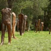 Lot 27 Magdalena Abakanowicz Caminando (20 Walking Figures) incised with the artist's signature, foundry mark and date 1998/99 on the interior of various figures  bronze, in 20 parts each figure: 68 1/2 x 27 1/2 x 19 3/4 in.; 174 x 69.9 x 50.2 cm Executed in 1998-1999, this work is unique.  Estimate $400/600,000 Sold for $471,000