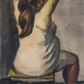 1073   Curt Querner, Rückenansicht einer sitzenden Schwangeren im Hemd (Herta). 1958. Ausrufpreis: 2.200 €