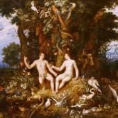 Roelant Savery (1576–1639) Cornelis Cornelisz. van Haarlem (1562–1638) Adam und Eva im Paradies – Der Sündenfall, 1618  Öl auf Holz (1826 in St. Petersburg auf Leinwand übertragen); 81 x 138 cm Sign. und dat. unten rechts: R. Savery/1618 Hohenbuchau Collection, Inv.-Nr. HB 56. © LIECHTENSTEIN MUSEUM. Die Fürstlichen Sammlungen, Wien