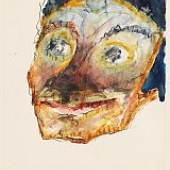 Emil Nolde Kopf. Wohl 1916-1918 Aquarell und Tusche. 26,8 x 21 cm (10.5 x 8.2 in) Schätzpreis: € 25.000-35.000  Rottluff
