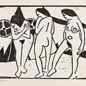Karl Schmidt-Rottluff Akte vor dem Vorhang. 1911 Holzschnitt. 42,3 x 50,3 cm (16.6 x 19.8 in) Schätzpreis: € 12.000-15.000