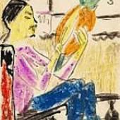 Erich Heckel Ananas-Esser. 1910 Farbige Kreide, Tusche und Bleistift. 14 x 9 cm (5.5 x 3.5 in) Schätzpreis: € 3.000-4.000