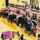Ernst Ludwig Kirchner Straßenszene. 1910 Tuschfeder und farbige Kreide 14 x 9 cm (5.5 x 3.5 in) Schätzpreis: € 3.000-4.00