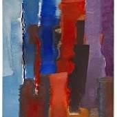 Fritz Winter Blau-Rot-Vertikal. 1967 Tuschfeder und farbige Kreide 70 x 60 cm (27.5 x 23.6 in) Schätzpreis: € 15.000-20.000