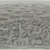 Willi Baumeister Gilgamesch, 1./ 2.5.–5.6./ 2.8.1943 Blatt 58: ›Ich will dir ein Geheimnis verraten, von einem verborgenen Wunderkraut will ich dir Kunde geben. Das Kraut sieht aus wie ein Stechdorn und wächst tief unten im Meere, sein Dorn ist wie ein Stachel des Stachelschweins‹ Kohle, gewischt, radiert, Ölkreide in Schwarz, durchgerieben, fixiert auf blaugrünem Ingres-Bütten 24 x 32,2 cm Leihgabe der Freunde der Staatsgalerie Stuttgart