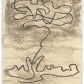 Gilgamesch, 1943 Blatt 24. Mein Freund, wieder hatte ich einen Traum, und der Traum, den ich sah, war schrecklich: Es schrie der Himmel. Antwort brüllte die Erde, [dunkle Wetterwolken zogen herbei] ein Blitz leuchtete auf. Kohle, gewischt, Ölkreide in Schwarz, fixiert auf elfenbeinfarbenem Zeichenkarton Leihgabe der Freunde der Staatsgalerie Stuttgart © VG Bild-Kunst, Bonn 2010