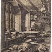 Albrecht Dürer Hieronymus im Gehäus. 1514 Kupferstich. 24,6 x 18,8 cm Schätzpreis: € 6.000-8.000