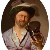 Frans van Mieris (1635–1681) Selbstporträt als fröhlicher Zecher, 1673  Öl auf Holz; 15 x 11 cm Sign. und dat. links: F. van Mieris / Ao. 1673 Hohenbuchau Collection, Inv.-Nr. HB 16. © LIECHTENSTEIN MUSEUM. Die Fürstlichen Sammlungen, Wien