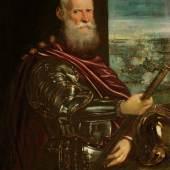 Copyright Kunsthistorisches Museum, Wien Autor  Beschreibung Doge Sebastionao Venier (im Hintergrund: Die Seeschlacht von Lepanto) gemalt von Jacopo Robusti, genannt Tintoretto um 1580