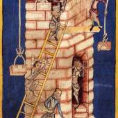 """""""Turmbau von Babel"""" aus einer mittelalterlichen Chronik 1340/50 Copyright: Zentralbibliothek Zürich"""