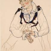 Egon Schiele Die Frau des Künstlers (Edith Schiele), 1917 Gouache auf Papier 45,5 x 29,7 cm Belvedere, Wien  © Belvedere Wien