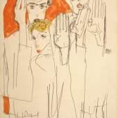 Egon Schiele Seher (Doppelselbstporträt mit Wally), 1913 Gouache, Aquarell und Bleistift auf Papier 49,9 x 31,7 cm Privatbesitz, Courtesy Galerie St. Etienne, New York © Galerie St. Etienne, New York