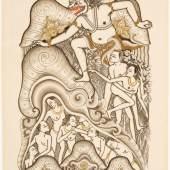 Szene aus dem Atmaprasangsa (878 KB) I Gusti Nyoman Lempad Vor 1935 Sammlung Helene Potjewyd Papier, Feder und Tusche mit schwarzer und roter Tinte, gehöht mit Gold, H. 280 mm, B. 210 mm © KHM mit MVK und ÖTM