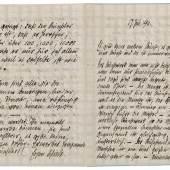 Egon Schiele (1890 – 1918), vierseitiges Manuskript, 17. Juli 1911, schwarze Tinte auf Papier, 17,5 x 12,7 cm, Schätzwert € 20.000 – 40.000