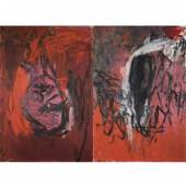 3. Georg Baselitz, Rote Elke - Die Flasche (11. Gruppe) [Red Elke - The Bottle (11th Group)], 1978 Oil and eggtempera on plywood Two panels 250.2 x 170.2 cm (98.5 x 67.01 in) Overall dimensions 250.2 x 360 cm (98.5 x 141.73 in) (GB 1332) Private collection