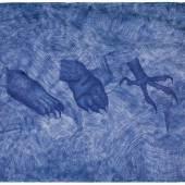 Drie Klauwen / Drei Klauen (2.3 MB) Jan Fabre 1987 Serie: Het Uur blauw/ Die Blaue Stunde Bic-Kugelschreiber auf Papier 1500 x 2000 mm Sammlung Axel Enthoven, Antwerpen © VBK, Wien 2010; Foto © Angelos