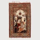"Seltener kleiner Bildteppich mit Marienikone ""Madonna der Passion"". A Small Rare Anatolian Hand Knotted Tapestry with an Icon of Mary ""Madonna der Passion"", About 1935. Mindestpreis:240 EUR"