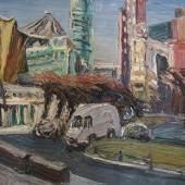 Christopher Lehmpfuhl, Die letzten Sonnenstrahlen am Potsdamer Platz, 2004, Öl auf Leinwand, 100 x 120 cm