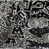 A. R. Penck, Kreislauf der Spiele, 2005, Acryl auf Leinwand, 140 x 180 cm, erzielter Preis € 174.100