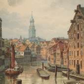 A. Stelling, Bleichenbrückenfleet, um 1885, Aquarell, Foto SHMH, MHG