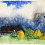 Emil Nolde Marschlandschaft mit Bauernhof und Heudiemen Um 1930/35. Aquarell 34,8 x 45,7 cm (13.7 x 17.9 in) Schätzpreis: € 180.000-240.000