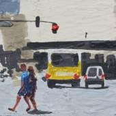 Ein Tag am Bahnhof Zoo (Detail), Hugo Stuber, 2015  Acryl, Spray, Schablone, Bleistift, Emaille und Marker auf Leinwand, 72 x 92 cm