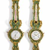 A Louis XV-style gilt-mounted 'corne verte' wall clock and matching barometer, circa 1880 £15,000-25,000