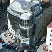 Beschreibung: Hans Hollein, Haas-Haus, Wien, AT, 1985–1990, Blick vom Stephansdom (c) Architekturzentrum Wien, Sammlung, Foto: Friedrich Achleitner