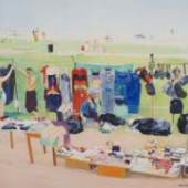 Johanna Kandl (geb. 1954 Wien), Ohne Titel (Am Stausee), 2002, Eitempera/Holz, 170 x 234 cm, Lentos Kunstmuseum Linz, Inv. Nr. 1446